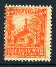 NZ Error 2d Whare 1935 Pict 100% offset on back, simply stunning, the best I have seen, amazing vibrant shade of offset