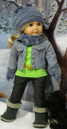 Jean Jacket with Tee Pants Hat Mittens by SugarloafDollClothes