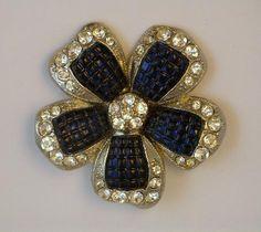 "Avon ""Invisible Set"" Sapphire Glass Flower Brooch"