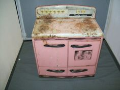 Vintage Mar Pretty Maid Pink Childs Pressed Tin Kitchen Stove Toy | eBay