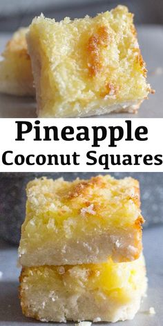 Easy pineapple coconut squares a buttery shortbread base and a delicious coconut pineapple filling makes this the perfect cookie square pineapplecoconutcookies pineapplesquares coconutbars bars cookies christmascookies chocolate coconut bars Mini Desserts, Pineapple Desserts, Pineapple Recipes, Easy Desserts, Delicious Desserts, Yummy Food, Coconut Desserts, Coconut Bars, Coconut Treat Recipes