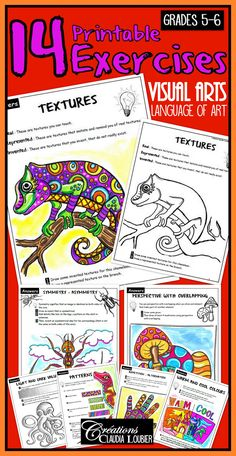 I created 14 exercises to facilitate the learning of art terms in Grades 5 and 6.  - All kinds of lines: circular, horizontal, vertical and oblique - Primary and secondary colours - Rounded and angular shapes - Textures - Patterns - Three dimensional shapes - Light and Dark colour values - Enumeration, juxtaposition and superimposition - Repetition and alternation - Perspective with overlapping - Perspective with reduction - Symmetry and Asymmetry - Warm and cool colours
