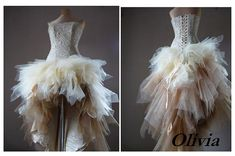 OLIVIA Bronze and beige prom dress Tulle by AtelierArtistia