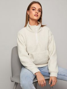 Half Zip Kangaroo Pocket Teddy Sweatshirt Classy Fashion, Hoodies, Sweatshirts, Kangaroo, Pocket, Zip, Casual, Sweaters, Baby Bjorn