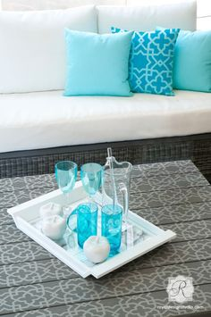 Moroccan Furniture Stencils | Small Tangier Lattice on Table Top and Pillow | Royal Design Studio