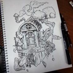 Ilha voadora #drawing #blackwork #island #floatingisland Blackwork, Anime, Drawings, Sketches, Tattoos, Design, Floating Island, Dibujo, Iceland