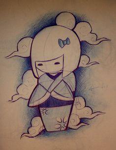 Kokeshi doll tattoo @Melba Brown Tagavilla you should get one! lol