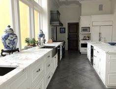 Can A Stunning Greek Revival Home Be Revived After A Hideous Kitchen Remuddle? counters are a marble called Calacatta Vagli Kitchen Cabinet Storage, Kitchen Cabinet Design, Kitchen Decor, Kitchen Ideas, Kitchen Inspiration, Interior Inspiration, Kitchen Countertops, Kitchen Cabinets, Marble Counters