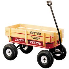 All-terrain steel and wood wagon. ¡La carretilla roja original!