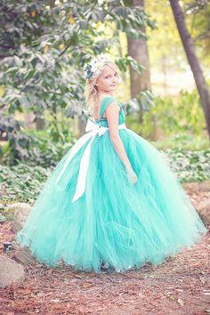 Teal Flower Girl Tutu Dress by littledreamersinc on Etsy, $60.00