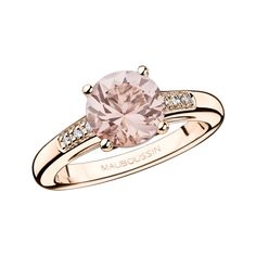 Un Grand Mot de Tendresse ring, by Mauboussin. Pink gold, morganite and diamonds