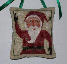 Christmas Santa cross stitch ornament.  Design by The Prairie Schooler.