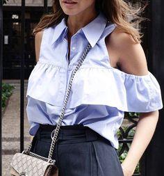 Ruffle cold shoulder button front shirt