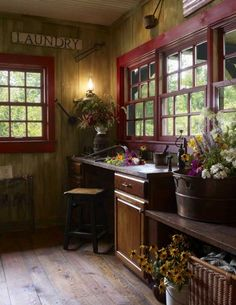 an alternative vein for a laundry room,  warm and rustic