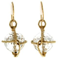 Nautical Twisted Wire Crystal Ball Gold Earrings (€1.270) ❤ liked on Polyvore featuring jewelry, earrings, multiple, gold jewellery, wire earrings, yellow gold jewelry, gold earrings and nautical jewelry