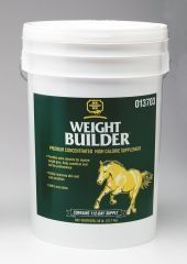 """Farnam Weight Builder 28lb by Farnam. $80.98. 28 POUND. Traditionally, horses needing more calories for increased stamina were fed more grain. However, excessive amounts of grain can lead to digestive upset, such as colic, diarrhea and even founder. Plus, grains are digested as simple sugars, which can make a horse """"hot"""" or hyperactive. CHAR(13) + CHAR(10) Recently, researchers have discovered the benefits of adding fat to horses' diets: • Maintains & enhances b..."""