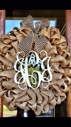 This custom wreath will look great on your front door all year long totally customized just for you... This is a natural burlap wreath with a