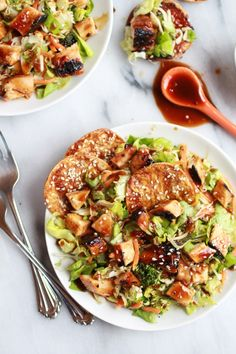WANT --> Chopped Asian BBQ Chicken Salad with Honey Sesame Crackers via Half Baked Harvest