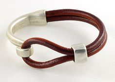 Burgundy Red Leather Bracelet with Antique Silver by siriousdesign