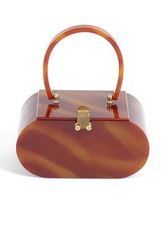 1950's Brown Tortoise Lucite Wilardy Box Purse Handbag Designer 50's. $250.00, via Etsy.