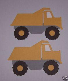 2 Premade Dump Truck Quickutz Sizzix Scrapbooking Paper Die Cuts / Card Toppers #Handmade