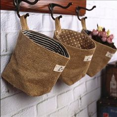 Baumwolltasche Schutt bag / doppelseitige Stoff Wandbehang Taschen 3-Taschen Gadget Aufbewahrungstasche Pouch Organizer Wandtasche Faltbar Tasche 12*12CM