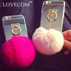 De luxe Miroir Souple TPU Téléphone de Couverture Arrière avec De Luxe Coloré De Fourrure De Lapin balle Pendentif Téléphone Cas Coque Pour iPhone 5S 6 6 S 7 Plus