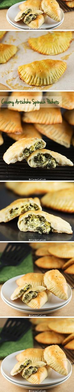 Soft POCKETS filled with CREAMY ARTICHOKE SPINACH dip are baked until golden brown. Perfect for parties or snacking! Artichoke Spinach, Artichoke Recipes, Spinach Dip, Easy Appetizer Recipes, Appetizers For Party, Bacon Recipes, Cooking Recipes, What's Cooking, Snacks Recipes