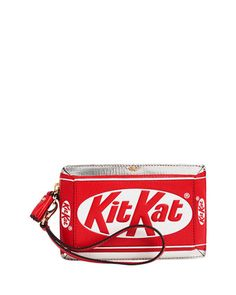 Kit Kat Clutch Bag, Silver/Red by Anya Hindmarch at Neiman Marcus.