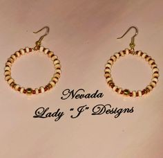 Beaded Hoop Earrings  Cream Brown and Tan by NevadaLadyJ on Etsy