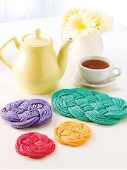 Knotted Coasters & Trivet Knit Pattern download from Annie's Craft Store. Order here: https://www.anniescatalog.com/detail.html?prod_id=126128&cat_id=165