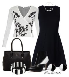 """""""All Black and White"""" by penny-martin on Polyvore featuring Diane Von Furstenberg, RED Valentino, Furla, Carolee, Antica Murrina and NOVICA"""