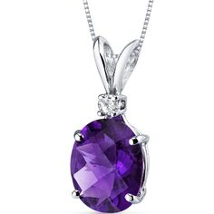 14k White Gold Oval Genuine Amethyst and Diamond Pendant Necklace #JRyanFineJewelry #DropDangle