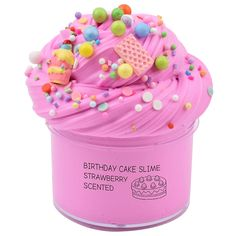 Dorothyworld Newest Strawberry Birthday Cake Slime with Charm Sludge Scent Toy for Boys and Girls( Slime Toy, Slime Craft, Diy Slime, Best Kids Toys, Toys For Boys, Sticky Slime, Jelly Slime, Strawberry Birthday Cake, Jars