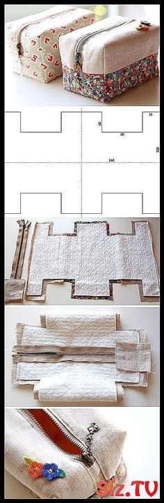 Block Zipper Pouch Tutorial Diy pouches made easy crafty Block Zipp Sewing Crafts, Sewing Projects, Diy Crafts, Diy Trousse, Diy Pouch Tutorial, Diy Pouch No Zipper, Printable Designs, Bag Making, Make It Simple