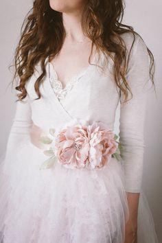 Flower Bridal Sash, Blush- Style Delilah - New Wedding Belts, Wedding Sash, Bridal Sash, Wedding Dresses, Rustic Wedding, Blush Flowers, Bridal Flowers, Lace Flowers, Flower Belt