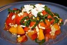 Summer Sweet Corn, Peach and Tomato Salad