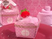 Cupcake Towel Favor Pink Cross Design For Baptism, Christening or Communion.