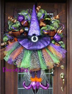 """Extra Large and Extra Sparkly 32"""" HALLOWEEN TUTU WITCH Wreath with Purple Witch Hat and Orange Lights"""