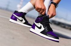 The Air Jordan 1 Retro High OG Court Purple is now available to buy on the KicksOnFire Shop. Nike Air Shoes, Nike Air Jordans, Air Jordan Shoes, Sneakers Nike, High Top Jordans, Custom Jordans, Purple Nikes, Hype Shoes, Jordan 1 Retro High