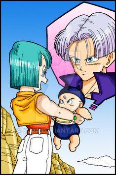 Bulma Y Trunks, Dragon Ball Z, Baby Trunks, Vegeta And Bulma, Ssj3, Fairy Tail Anime, Star Butterfly, Anime Manga, Coloring Books