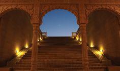 Suryagarh Fort Royal  Palace Steps- Courtyard, Jaisalmer, Rajasthan, #India