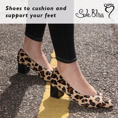 a8bbb4c52ed67 Luxe leopard print block heels for ladies with bunions and wide feet. Our  popular