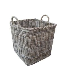 Grey & Buff Rattan Square Wicker Log Basket