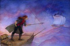 """Linda S. Wingerter illustration for """"Luna's Sea"""". Illustrator, Sea, American, Painting, Paintings, Illustrators, Ocean, Draw, Drawings"""
