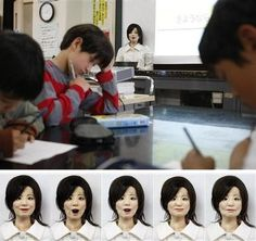 Japan's robot teacher calls roll, smiles and scolds, drawing laughter from students with her eerily lifelike face.  The robot teacher, called Saya, can speak multiple languages and express six basic emotions — surprise, fear, disgust, anger, happiness, sadness — because its rubber skin is being pulled from the back with motors and wiring around the eyes and the mouth.