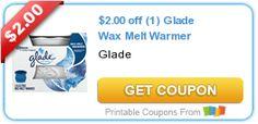 $2.00 off (1) Glade Wax Melt Warmer
