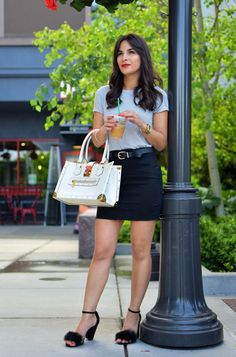 Striped Shirt & Furry Heels