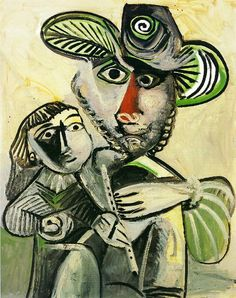 """""""Fatherhood"""" by Pablo Picasso c.1971. The artist painted this after he celebrated his ninetieth birthday."""