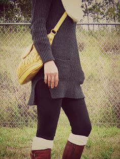 Sweater, tights and boots-pretty much my daily winter outfit